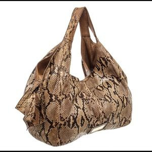 Valentino Brown Python Leather Nuage Bow Tote Bag